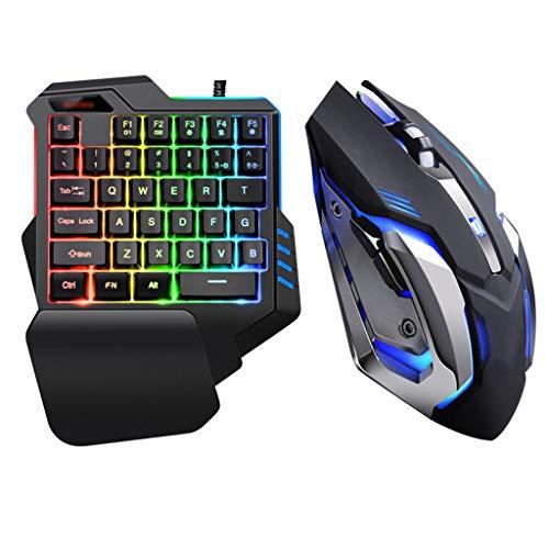 Mechanisch gaming-toetsenbord met één hand, USB-kabel voor games met RGB-achtergrondverlichting.