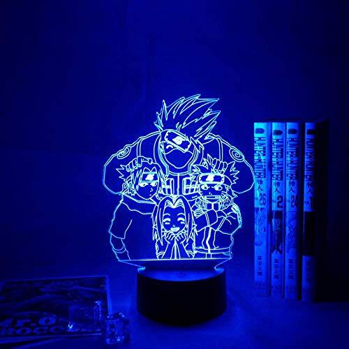 Luz de noche 3D Lámpara de ilusión LED Regalos de cumpleaños 7 colores Anime Naruto Uchiha Decoración de dormitorio para niños Lámpara de mesa y control remoto