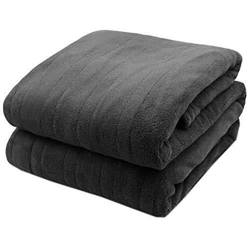 Pure Warmth MicroPlush Electric Heated Blanket Twin Grey