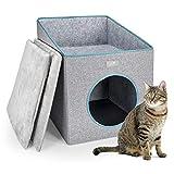 PUPPY KITTY Maison pour Chat Pliable, Cat Cave avec Terrasse, Coussin intérieur Super Doux, Niche pour Chat, Chatons et Chiots d'intérieur résistant au Froid, 37 * 36 * 49cm