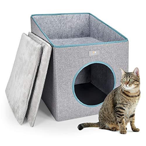 PUPPY KITTY Faltbare Katzenhöhle mit Terrasse, Katzenhöhle mit Super Weichem Innerkissen Outdoor Winterfest Katzenhaus katzenkörbchen katzenbett katzenkorb für Katzen, Kitten & Welpen, 37 * 36 * 49CM