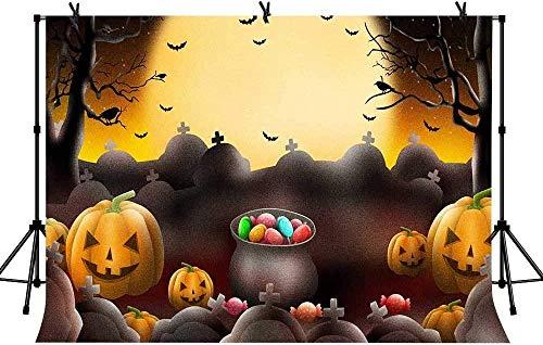 7x5ft Moom Hintergründe Halloween Fledermäuse Grabstein Kürbis Laterne Süßigkeiten Hintergründe Requisiten Wallpaper LYZY1024