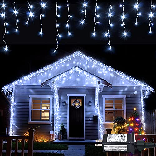 JMEXSUSS 38.8FT 400 LED Icicle Lights 8 Modes Waterproof Christmas Icicle Lights Outdoor with 80 Drops, Indoor Cool White Curtain Icicle Lights