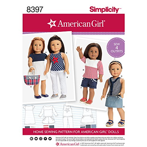 """SIMPLICITY 8397 18"""" DOLL CLOTHESAMERICAN GIRL SEWING PATTERN"""