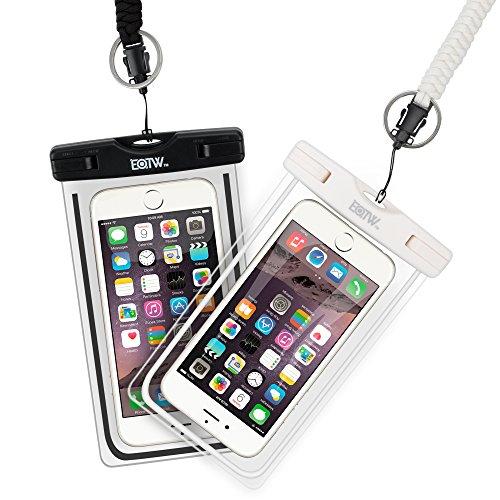 EOTW 2 Stück wasserdichte Handy Hülle, Wasser- und staubdichte Hülle für iPhone, Samsung, Nexus, HTC und mehr, Super Hülle für den Strand und Wassersport (Weiß+Schwarz)