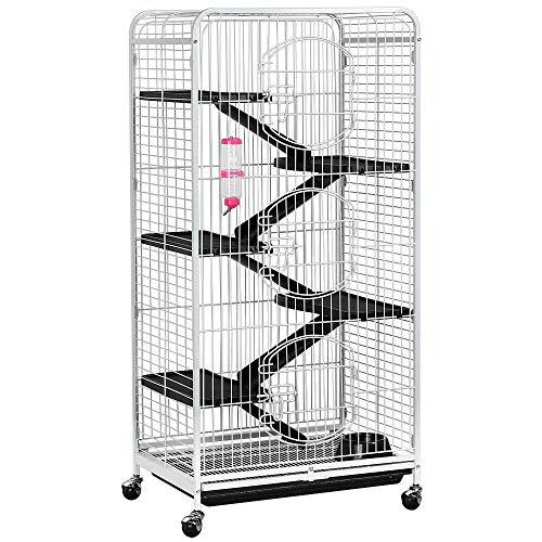 go2buy Metal 3 Doors Rats Rabbit Ferret Cage Playpen, 25.2Lx 16.9Wx 51.6H-inch White