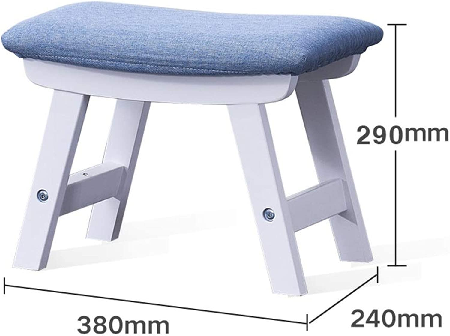 AGLZWY Footstool Sofa Stool Multipurpose Solid Wood Cloth Breathable Non-Slip Portable Square Created Living Room Change shoes Bench Coffee Table, Multiple colors