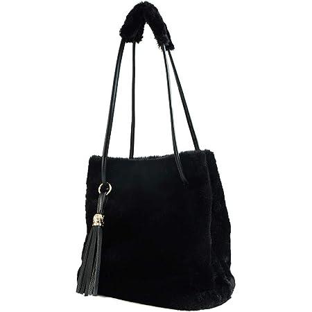 Ulisty Damen Herbst Winter Kunstpelz Schultertasche Plüsch Handtasche Flauschige Beuteltasche Quaste Umhängetasche schwarz