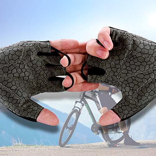 boildeg Fahrradhandschuhe Radsporthandschuhe rutschfeste und stoßdämpfende Mountainbike Handschuhe mit Signalfarbe geeiget Unisex Herren Damen (Grau, L) - 5