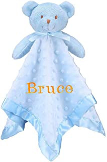 Pro Goleem Personalized Teddy Bear Baby Lovey Customized Stuffed Plush Lovie/Security Blanket for Boys and Girls Best Thanksgiving Day for Newborn/Infant/Toddler (Personalized, 15'')