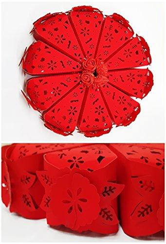 takestop® Set van 10 snoepjes snoepjes taartdecoratie rode bloemen confect communie confect bruiloft doop huwelijk doop bruiloft doop bruiloft doop geboorte bruiloft