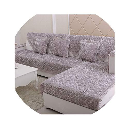 hotmoment-uk Funda de cojín de sofá de felpa, de alta gama, terciopelo dorado, antideslizante, 70 x 240 cm, color blanco