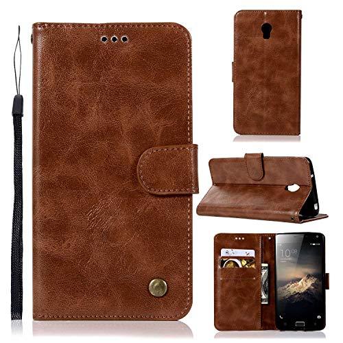 Guran® Funda de Cuero PU para Lenovo Vibe P1 Smartphone Función de Soporte con Ranura para Tarjetas Flip Case Retro Patrón Cover - Marrón