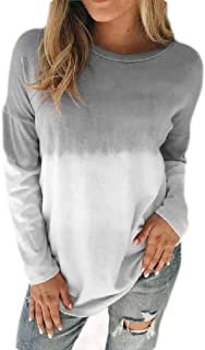 Loyomobak Women Crewneck Long Sleeve Color Block Loose Casual T Shirts