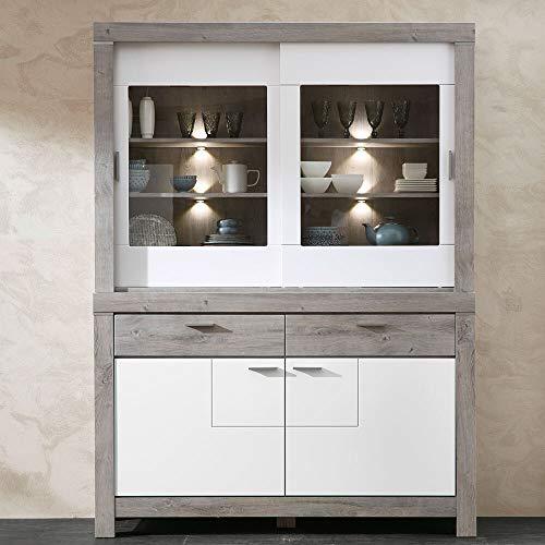 Lomadox Esszimmer Buffetschrank in weiß matt und Haveleiche, inkl. Beleuchtung, montierte Möbel