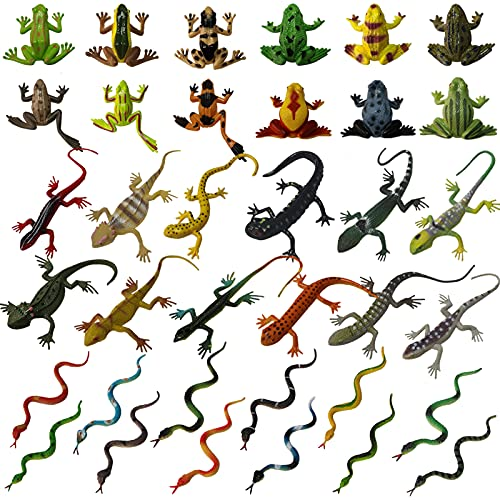 36 PCS Plastic Reptile Snake Lizards Frog Toys Set for Animal Cognition Birthday Party Favors Kids Prank Toys Classroom Prizes Goodie Bag Halloween Party Decoration