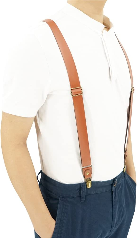 1 Inch Wide Suspenders for men,Soft Cattlehide Split Cow Leather Y-shaped Adjustable 4 Braces Clips Caramel England Style
