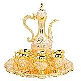 Caffettiera turca vintage con 6 tazze da caffè, set da tè turco in metallo con teiera e tazze da tè artigianali per regalo di nozze(Oro)
