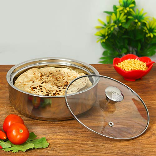 Femora Stainless Steel Insulated Roti Server, 1.1 litres, Silver, 1 Year Warranty
