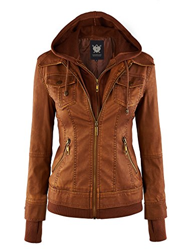 Lock and Love LL WJC664 Womens Faux Leather Jacket with Hoodie M Camel