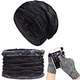 Affei Warm Hats Scarf Touch Screen Gloves Set for Men Women Knitted Hat Scarf Skullies Beanies Winter Hats (Black)