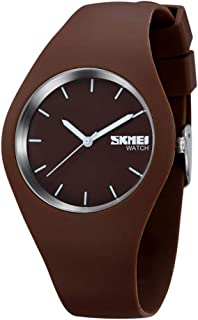 TONSHEN Simple Fashion Analog Quartz Watch Rubber Band Casual Style Wrist Watches for Women Girl 12 Colours (Brown)