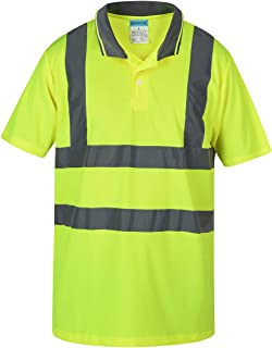 SHORFUNE High Visibility Polo Shirt with Reflective Strips, Yellow, ANSI/ISEA Standards, XXL