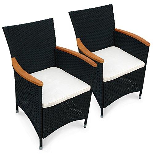 indoba® IND-70074-ST - Serie Valencia - 2 x Gartenstuhl aus Holz FSC-zertifiziert und Polyrattan - 2 Stück + 2 Sitzauflagen