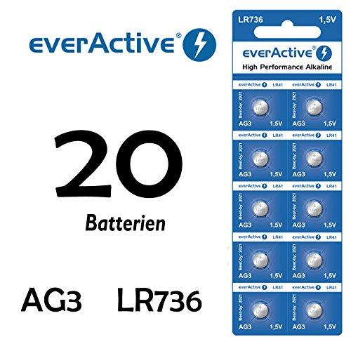 20 X Everactive AG3 - LR41 - LR736 - L736 - S736 Knopfzelle Uhrenbatterie 1,5 V