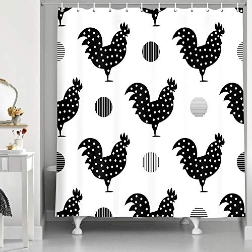 NYMB Modern Farmhouse Art Bath Curtain, Farm Animals Black and White Chicken Rooster with Graphics Dots Shower Curtain, Polyester Fabric Shower Curtains for Bathroom, Hooks Included, 69X70in