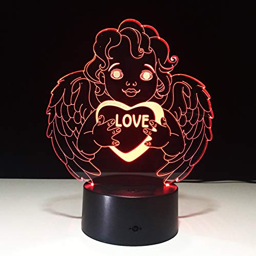 KangYD Wedding Love Angel 3D Night Light, LED Optical Illusion Lamp, B - Remote Black Base(16 Color), Creative Light, Novelty Lamp, Lucky Gift, Bedroom Lamp, Party Gift