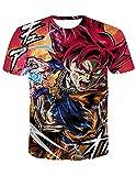 Camiseta Dragon Ball Hombre,Camisetas Dragon Ball Niño,Talla Grande Casual Manga Corta Impresión 3D Goku T-Shirt Abecedario Camisa de Verano Regalo Camiseta Tops (T01836,L)