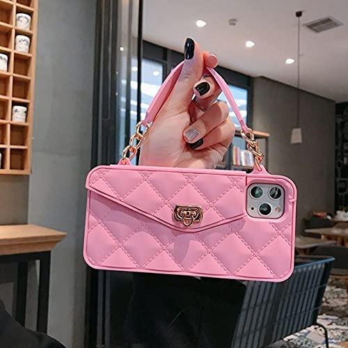 DEIOKL Card Zero Wallet Phone Case para IPhone11 / XR Handbag Cross-Body Silicona Funda 7/8para Huawei Nova 7i Funda, Rosa, para iPhone 11