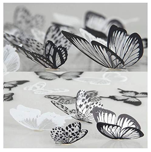 WandSticker4U®- 36er-Set 3D Schmetterlinge mit Glitzern SCHWARZ WEIß I Butterfly Dekoration Fenster Möbel Basteln Hochzeit Tischdeko I Wand Deko für Wohnzimmer Schlafzimmer Kinderzimmer Kinder