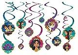 Amscan 672383 vDisney Aladdin Multicolor Spiral Party Decorations, 12 Ct. 5'