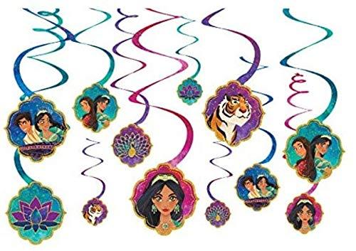 Amscan 672383 vDisney Aladdin Multicolor Spiral Party Decorations, 12 Ct. 5