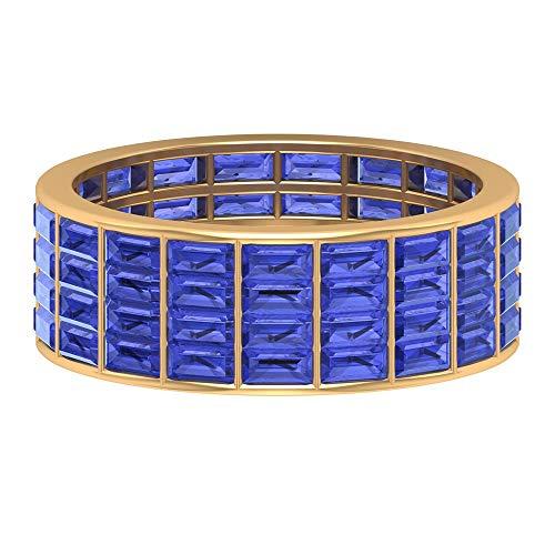 Rosec Jewels 14 quilates oro amarillo baguette Blue Tanzanite