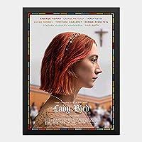 ハンギングペインティング - レディバード Lady Birdのポスター 黒フォトフレーム、ファッション絵画、壁飾り、家族壁画装飾 サイズ:33x24cm(額縁を送る)