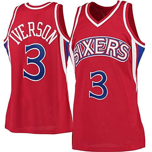DULI Bordado 76ers 3# Iverson Chaleco de Uniforme de Baloncesto Retro, Versión de Fans Jersey Jersey Uniforme Chaleco Camiseta Vintage Red-S
