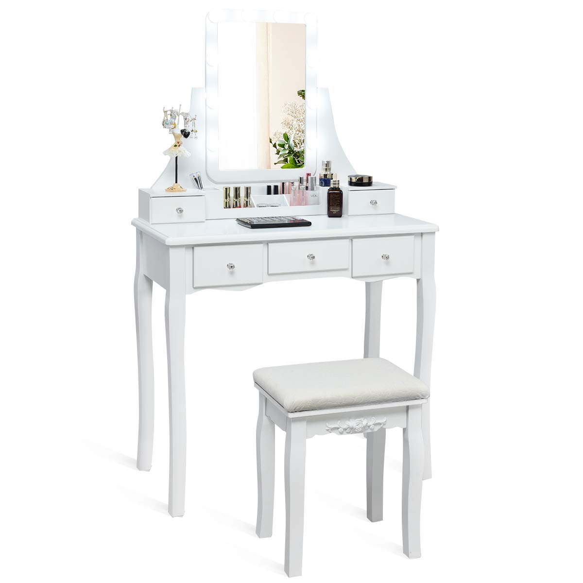 Charmaid Vanity Set With Lighted Mirror 10 Dimmable Light Bulbs Vanity Dressing Table 5 Drawer With 2 Dividers Removable Organizer Makeup Table And Cushioned Stool Set With 10 Led Bulbs White Buy