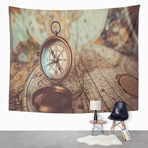 Y·JIANG Tapiz de estilo vintage, brújula antigua y mapa del viejo mundo decorativo para dormitorio de casa, manta ancha para colgar en la pared para sala de estar, dormitorio, 80 x 60 pulgadas