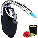 Yeuligo Butane Lighter, Mini Torch Lighter with Visible Window, Adjustable Jet Flame Windproof Gas Lighter for Grill BBQ Candle Camping Fireplace, Starry Sky Black(Gas not Included)