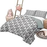 Juego de edredón de 3 piezas Juegos de cama para niños en gris y blanco Juegos de cama para niños con hojas giratorias artísticas gemelas Pétalos de flores con un diseño abstracto Tamaño completo Gris