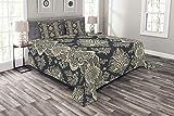 ABAKUHAUS Damast Tagesdecke Set, Victorian Barock, Set mit Kissenbezügen Moderne Designs, für Doppelbetten 220 x 220 cm, Anthrazit grau Creme