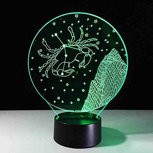 BJDKF 3D-LED-tafellamp, kreeft-sterrenbeeld, LED-nachtzicht, romantisch licht, kamerlamp, geschenk, creatieve lamppara