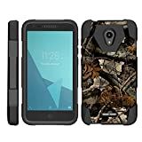 TurtleArmor | Compatible with Alcatel IdealXCITE Case | Alcatel Raven Case [Dynamic Shell] Hybrid Dual Layer Hard Shell Kickstand Silicone Case - Tree Leaves Camouflage