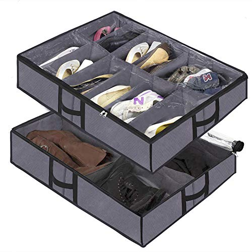 Under The Bed Shoe Organizer Fits 12 Pairs and 4 Pairs Boots,Sturdy & Breathable Materials,Underbed Storage Solution for Kids Men & Women Shoes,Great Space Saver for Your Closet Grey set of 2