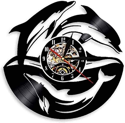 WJUNM Vinyl Wall Clock Dolphin Sea Ocean Life Animal Vinyl Record Wall Clock Underwater Wildlife Marine Dolphin Record Wall Clock-With Led