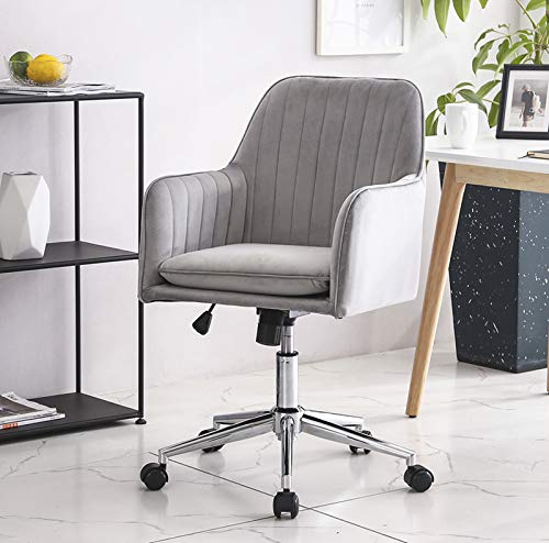 TITISKIN Home Office Chair, Velvet Desk Task Chair Furniture Adjustable Swivel Computer Desk Chair Soft Comfortable Executive Chair for Home Office, Bedroom, Living Room, Gray