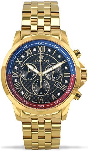 LOUIS XVI Herren-Armbanduhr Aramis Stahlband Gold Schwarz Karbon Blau Rot echte Diamanten Chronograph Analog Quarz Edelstahl 905